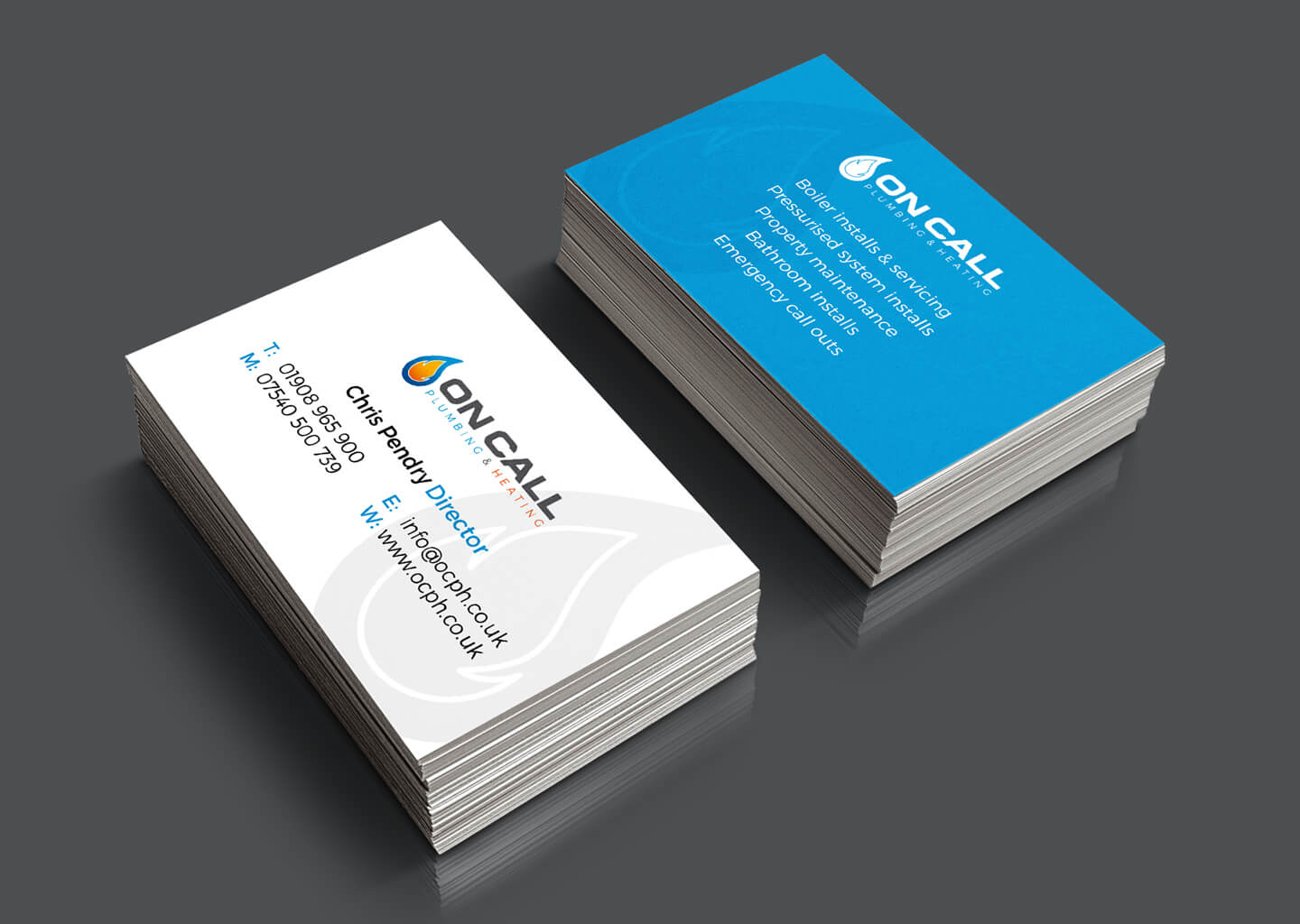 On Call rebrand business cards